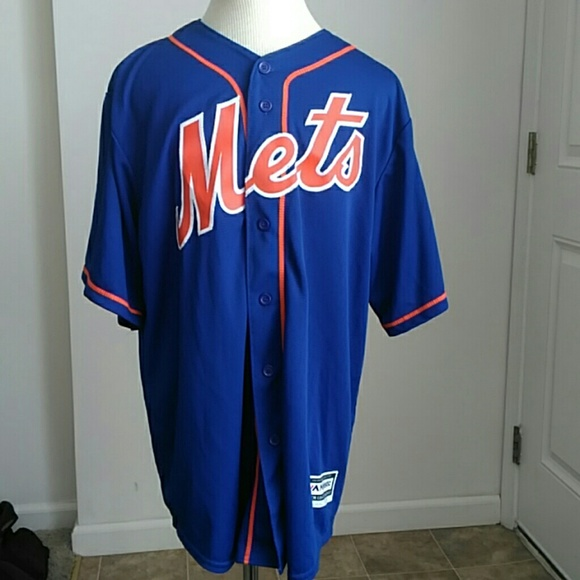 new product e6930 2f4ab D Majestic Mets Button Down Jersey Baseball